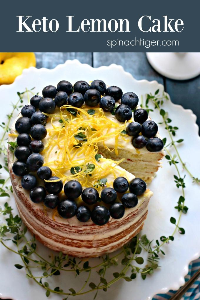 Keto Naked Lemon Cake from Spinach Tiger #ketocake #lemoncake #lowcarbcake #almondflour #grainfreecake #ketodessert #ketoLemon #spinachtiger #diabeticdessert #creamcheesefrosting