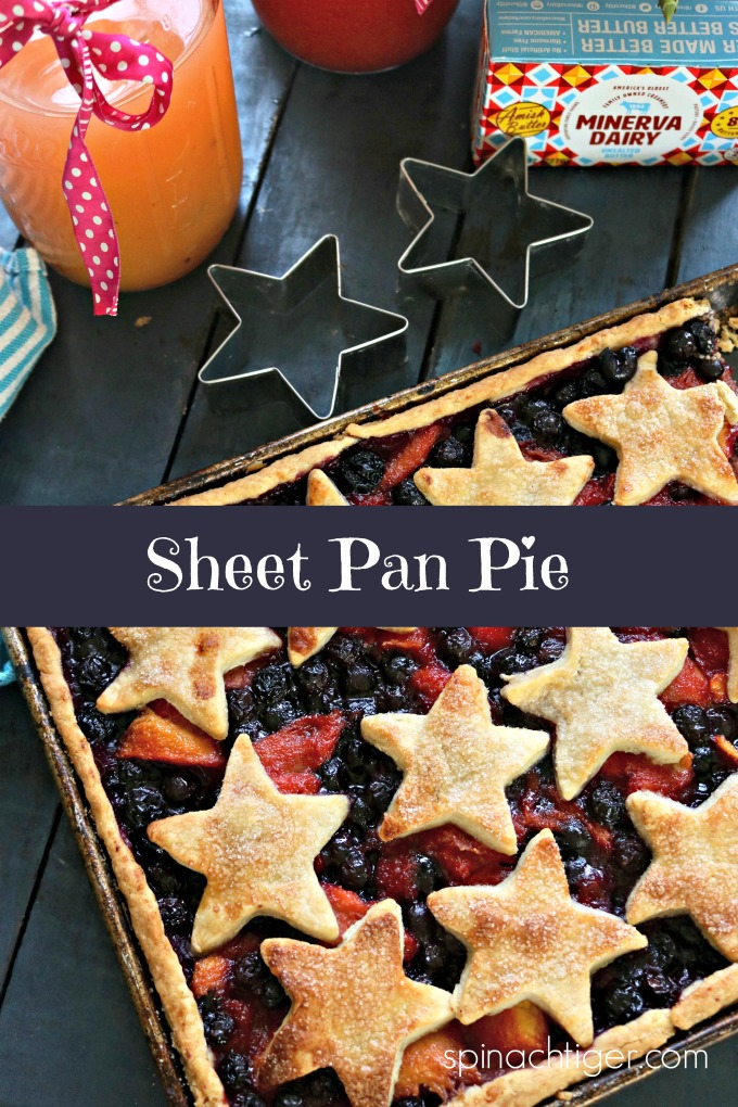 Sheet Pan Slab Pie from Spinach Tiger Tiger #slabpie #sheetpanpie #fanceysheetpanpie #fancypie #holidaypie #july4pie #july4dessert #summerdessert #piecrustrecipe #sheetpanpiecrust