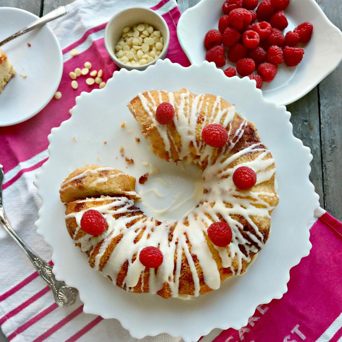 Keto Raspberry White Chocolate Bundt Cake