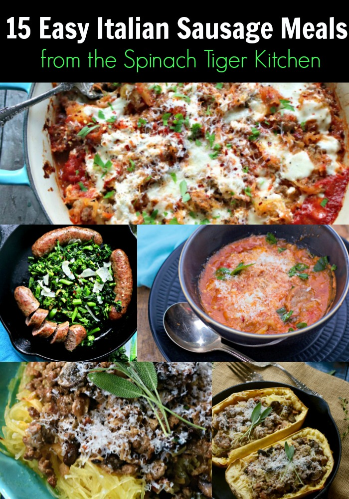 From my Italian Kitchen, Easy Italian Sausage Meals your family will love. Soups, Stews, Casseroles, Pizza, Sheet pan (many low carb options too. from #spinachtiger #italiansausagerecipes via @angelaroberts