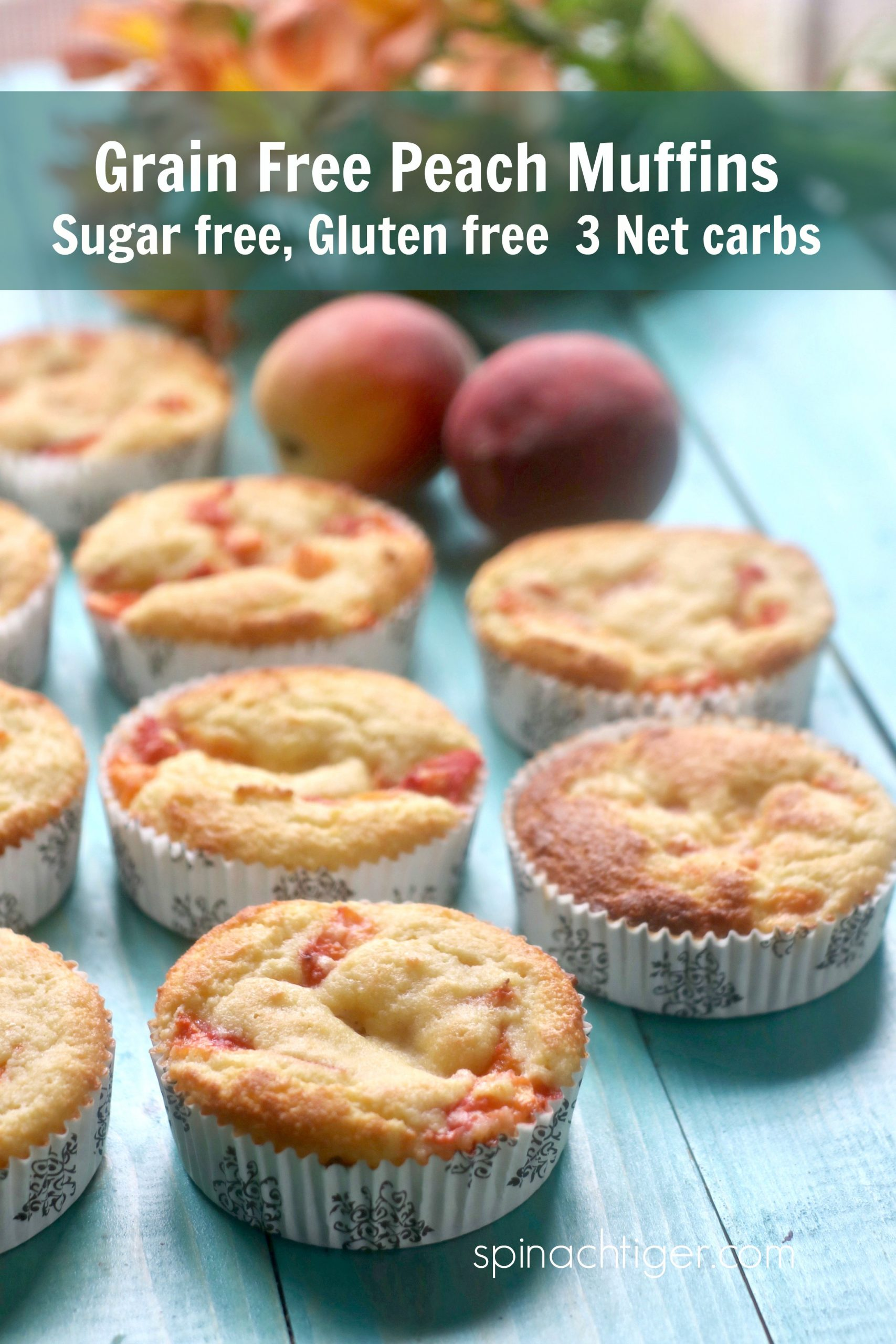 Make easy fresh peach muffins, grain free, gluten free and sugar free, with a perfect muffin texture. 3 Net Carbs. #swerve #peachtruck via @angelaroberts