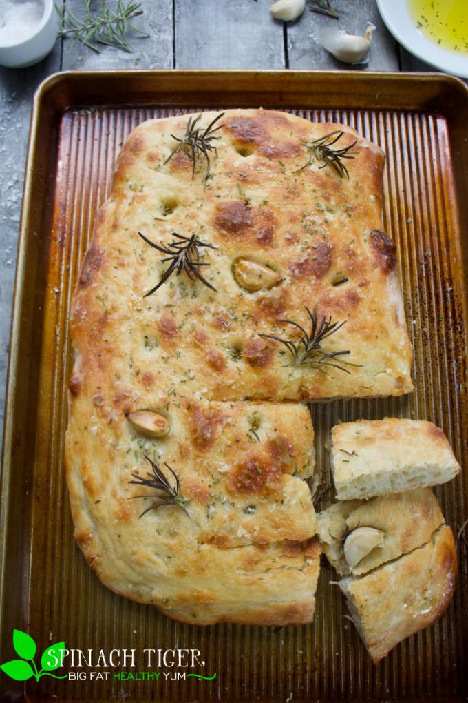 Sourdough Focaccia with Garlic, Salt and Rosemary