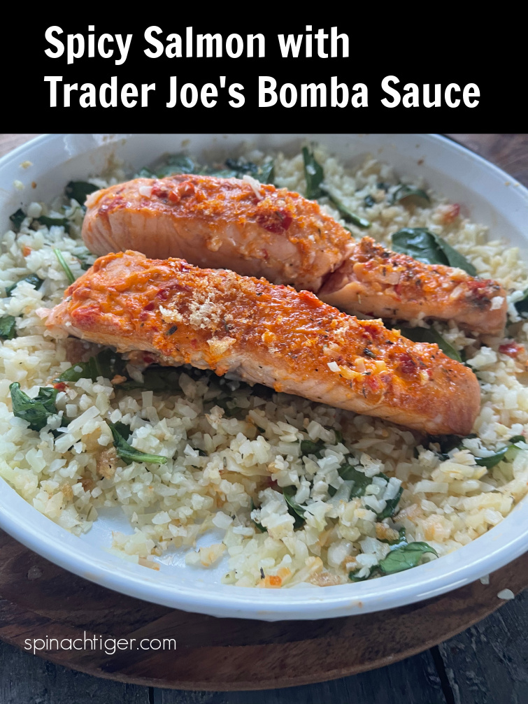 Easy 10 minutes dinner. Spicy Salmon made with Trader Joe's Bomba Sauce, Mayonnaise, Pork Panko for a gourmet easy dinner from Spinach TIger. Keto friendly. Paleo. Gluten free. #traderjoes #bombasauce #salmonrecipe #ketorecipe via @angelaroberts