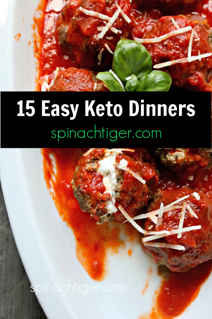 Easy low carb dinners (keto friendly, gluten free) featuring, steak, chicken, shrimp, salmon, most made in 30 minutes or less. #spinachtiger #lowcarbdinners #ketodinners #ketodinnerideas via @angelaroberts
