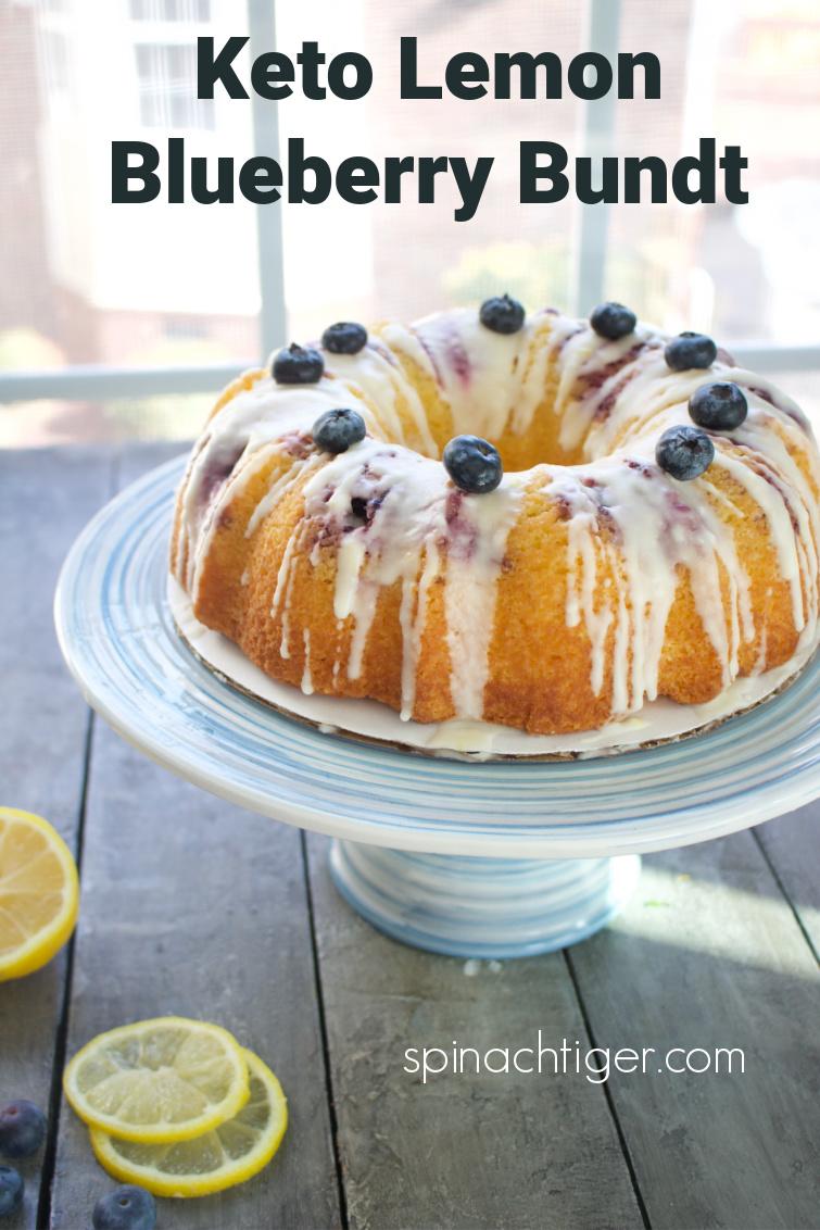 Super moist keto lemon blueberry bundt recipe as sold in our keto bakery. Almond flour, coconut flour, sour cream, fresh lemon juice, blueberries with vanilla glaze. Tips for making bundt cakes. #ketolemonblueberrybundtcake #ketolemonblueberry #keto #bundtcake #spinachtiger via @angelaroberts