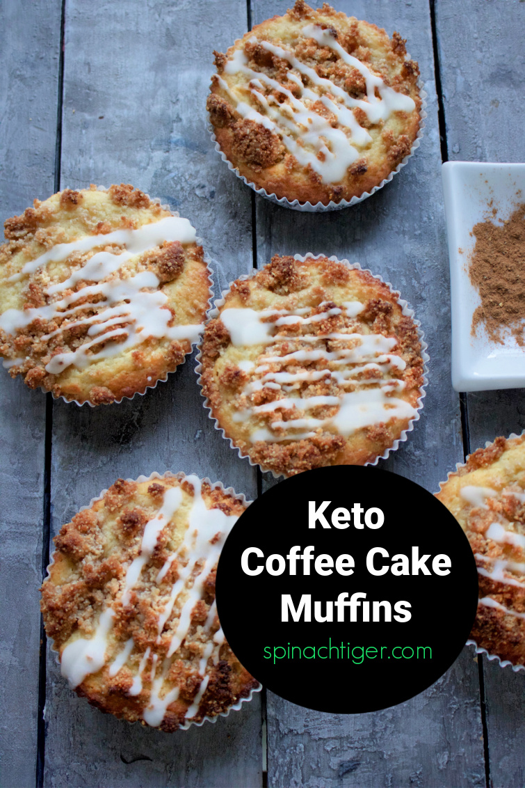Keto coffee cake muffins with crunchy cinnamon top. Almond flour and coconut flour is grain free, gluten free and paleo friendly. via @angelaroberts