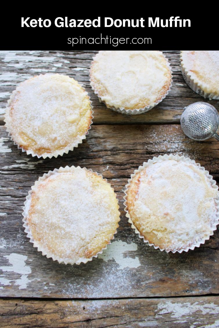 Keto Glazed Donut Muffin, Gluten Free, Sugar Free, Diabetic Friendly. Almond Flour, Coconut Flour, Eggs, Sour Cream, Nutmeg and Swerve #ketomuffin #donutmuffin #spinachtiger via @angelaroberts