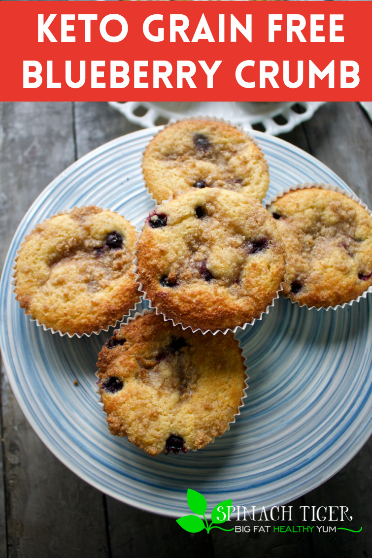 Easy to make low carb, gluten free, keto blueberry crumb muffins with fresh or frozen blueberries and cinnamon crumb topping. #spinachtiger #blueberrycrumbmuffins #keto #ketomuffins #blueberryrecipes #sugarfree #swerve #grainfree #paleo #glutenfree via @angelaroberts