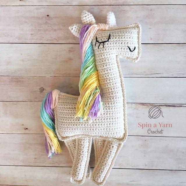 Patrón de Crochet en Inglés y Español - Mimi El Unicornio Amigable ... | 640x639