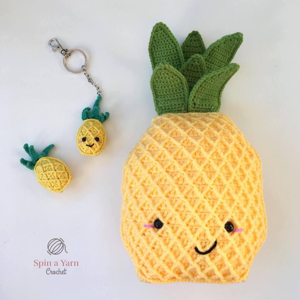 Pineapple Keychain Free Crochet Pattern Spin A Yarn Crochet