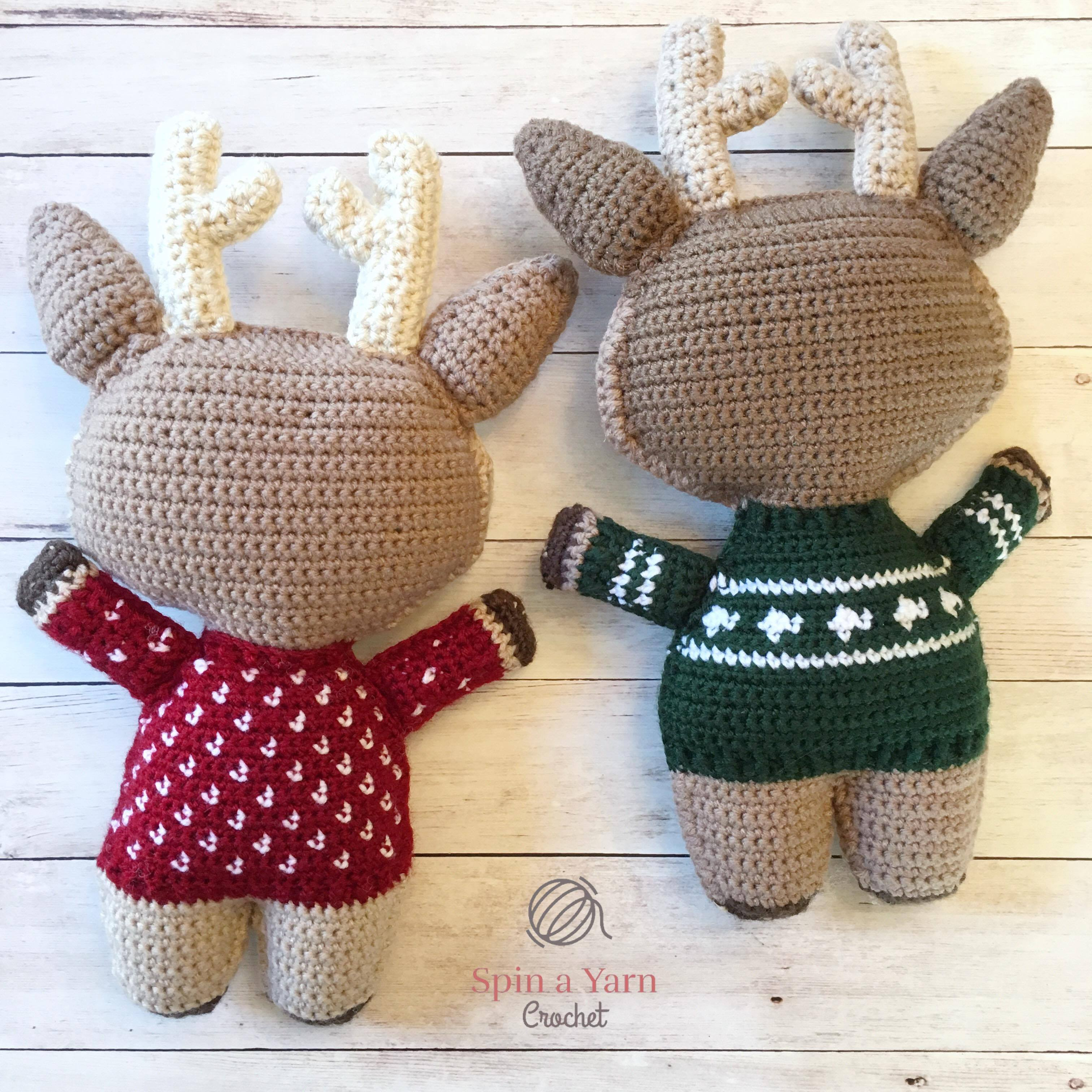 Holiday deer free crochet pattern part 2 spin a yarn crochet back view of reindeer bankloansurffo Choice Image
