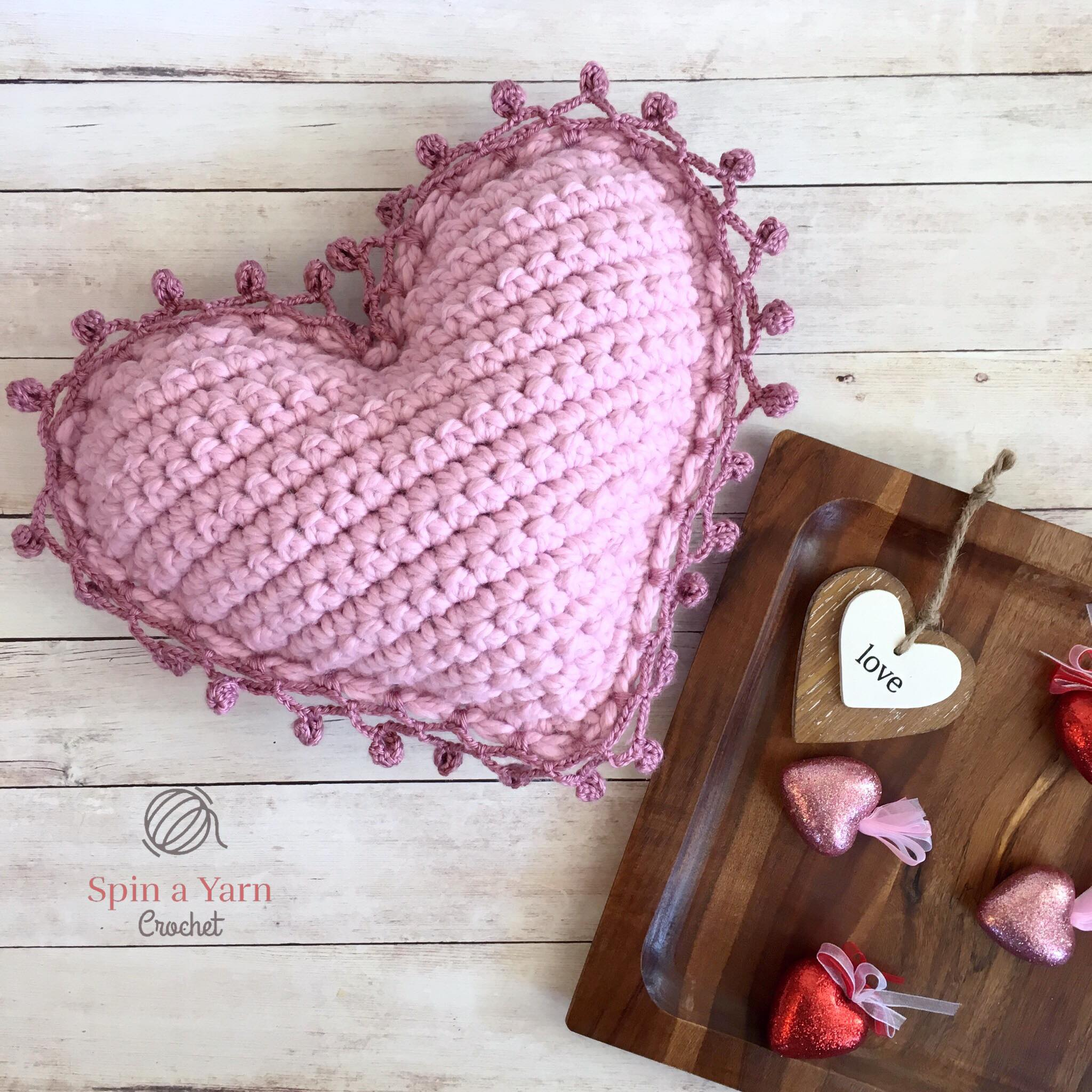 Heart Pillow Free Crochet Pattern • Spin a Yarn Crochet
