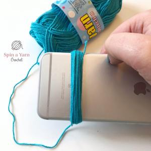 Yarn wrapped around iPhone