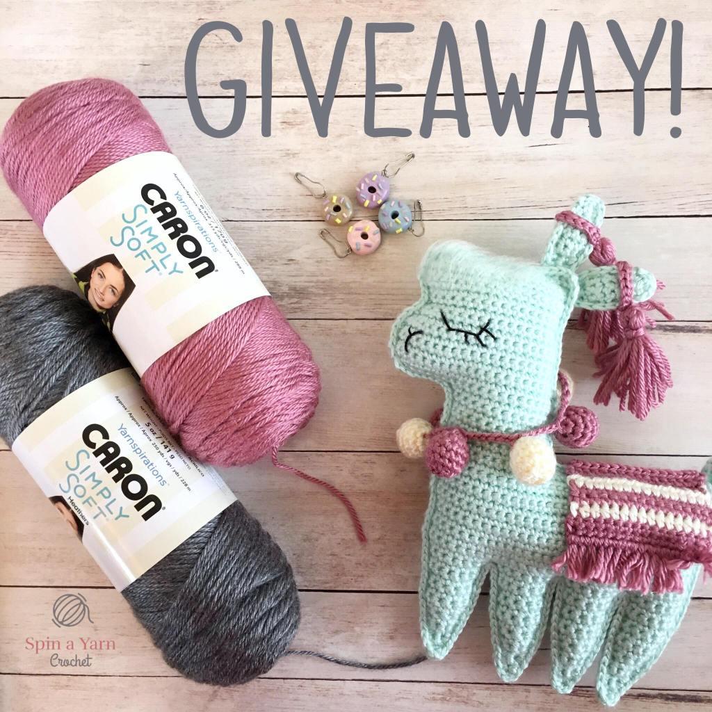 Yarn, mint llama and stitch markers