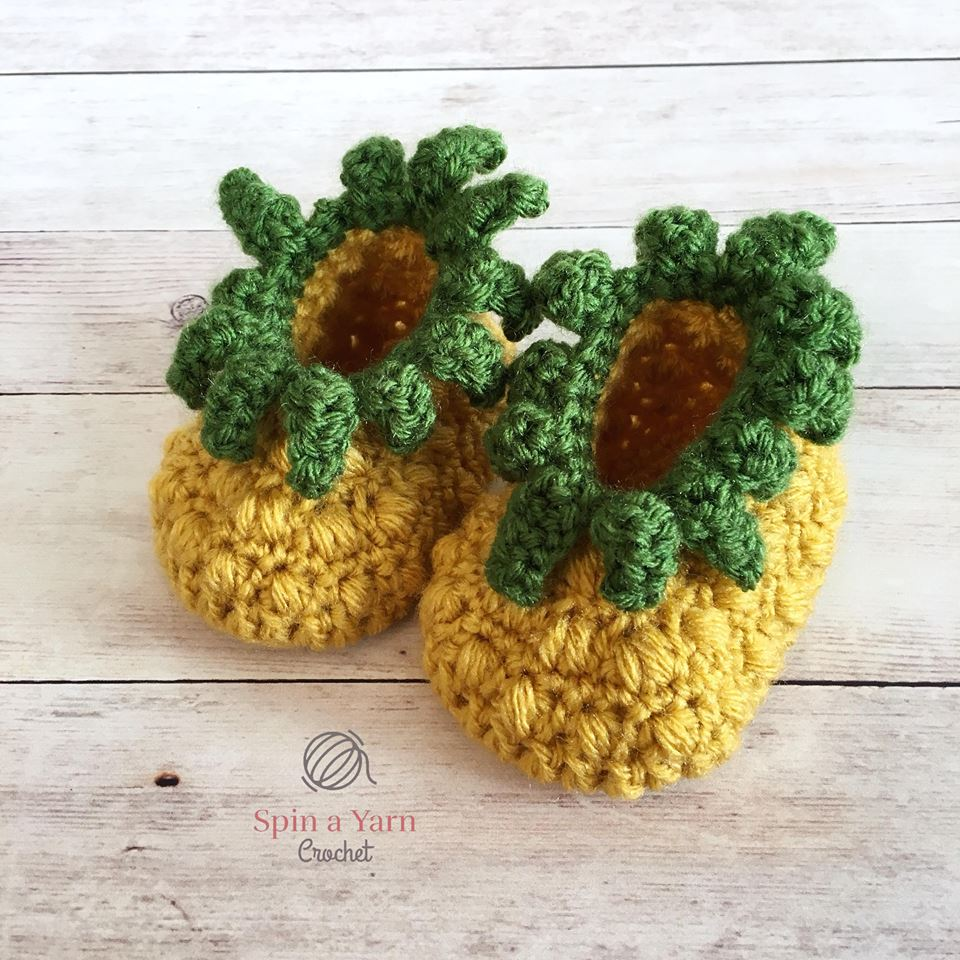 Pineapple baby booties