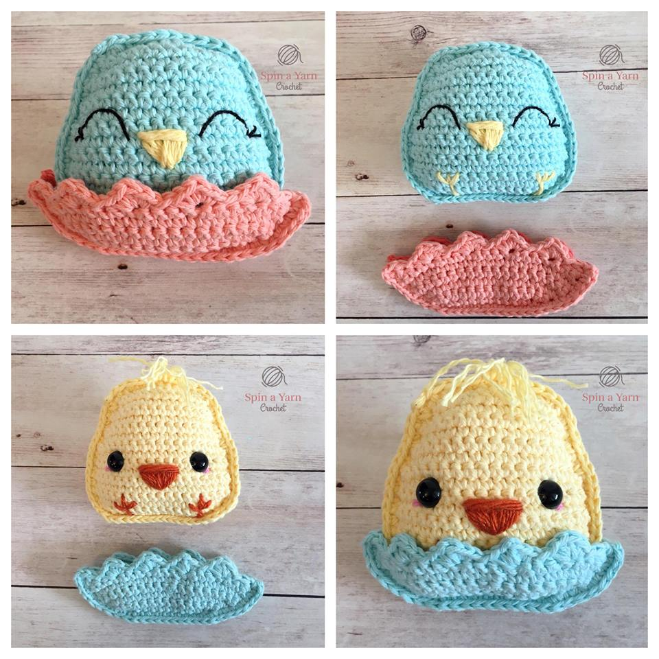 Blue crochet chick in pink shell and yellow crochet chick in blue shell