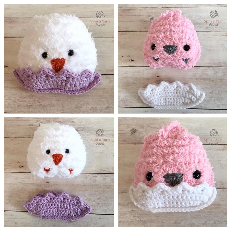White crochet chick in purple shell and pink crochet chick in white shell