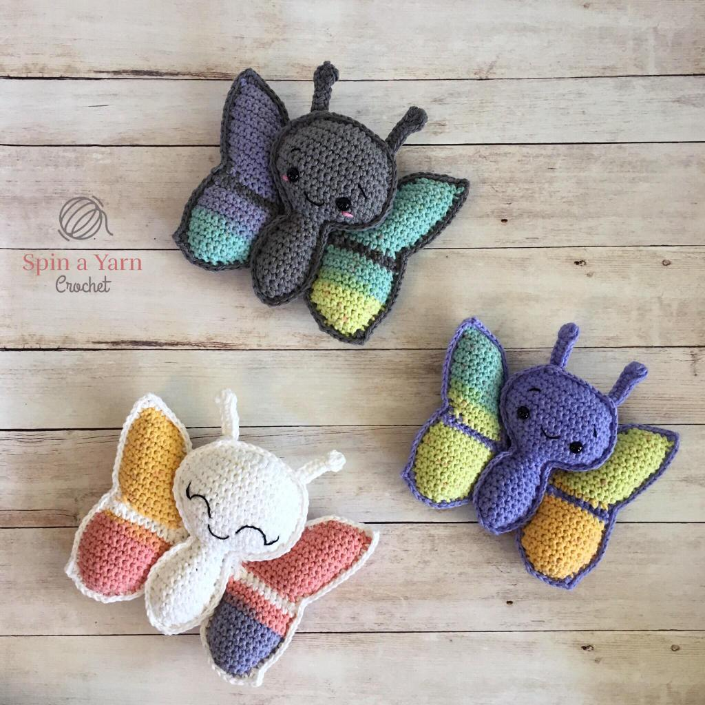 Three crochet butterflies