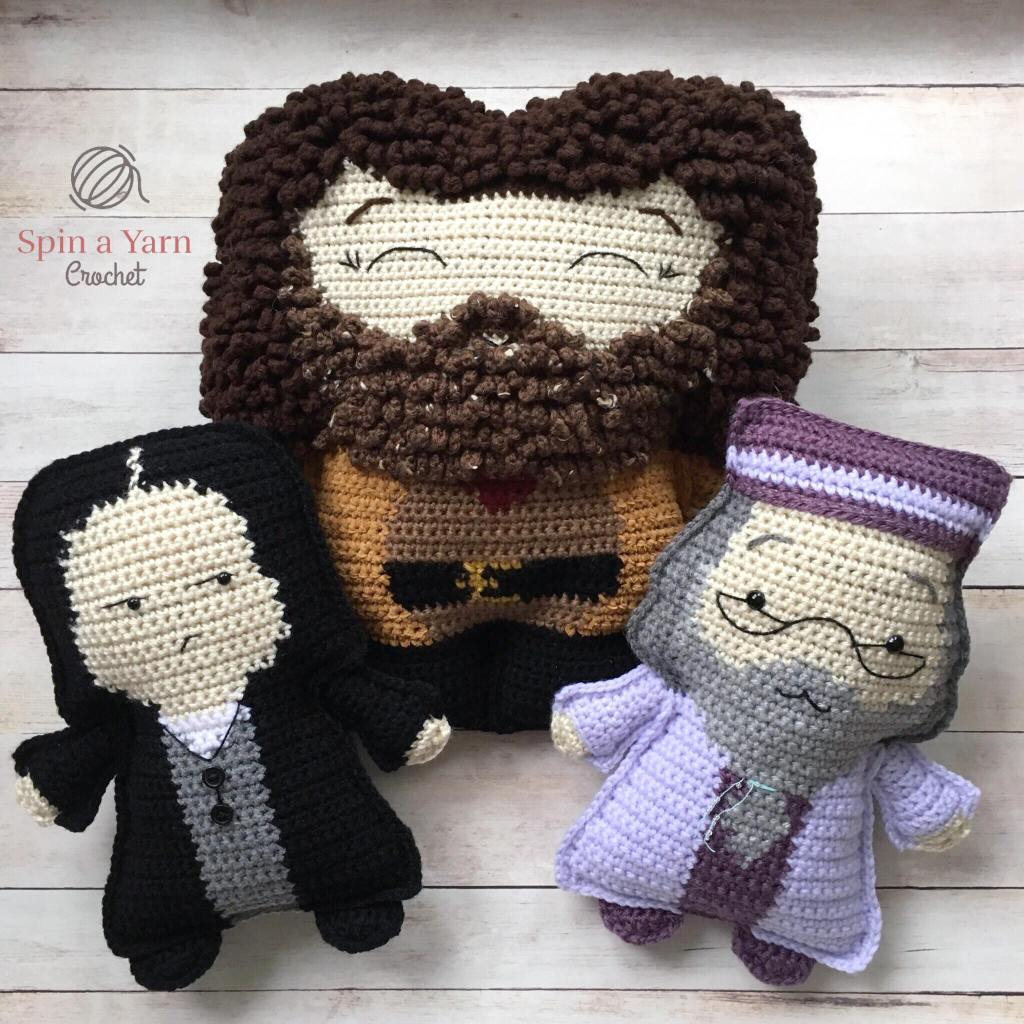 Crocheted Snape, Hagrid and Dumbledore