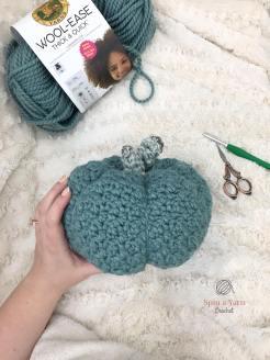 crocheted blue pumpkin