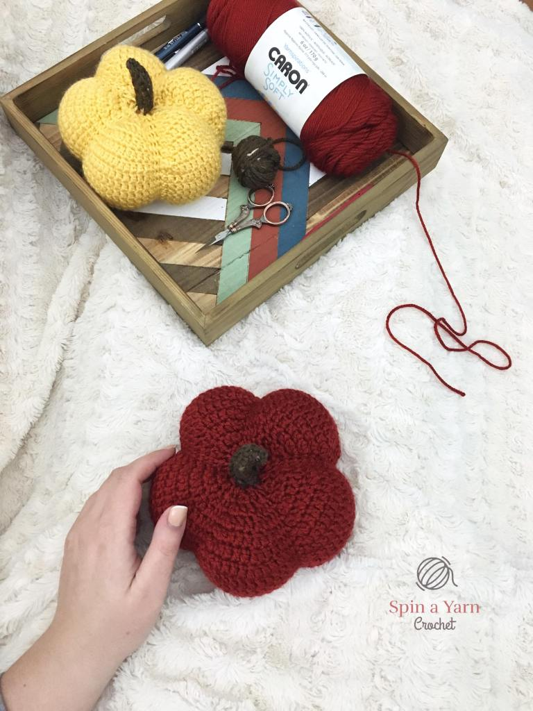 Finished crochet red pumpkin