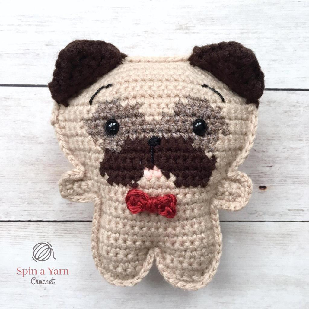 Crochet pug with ears up