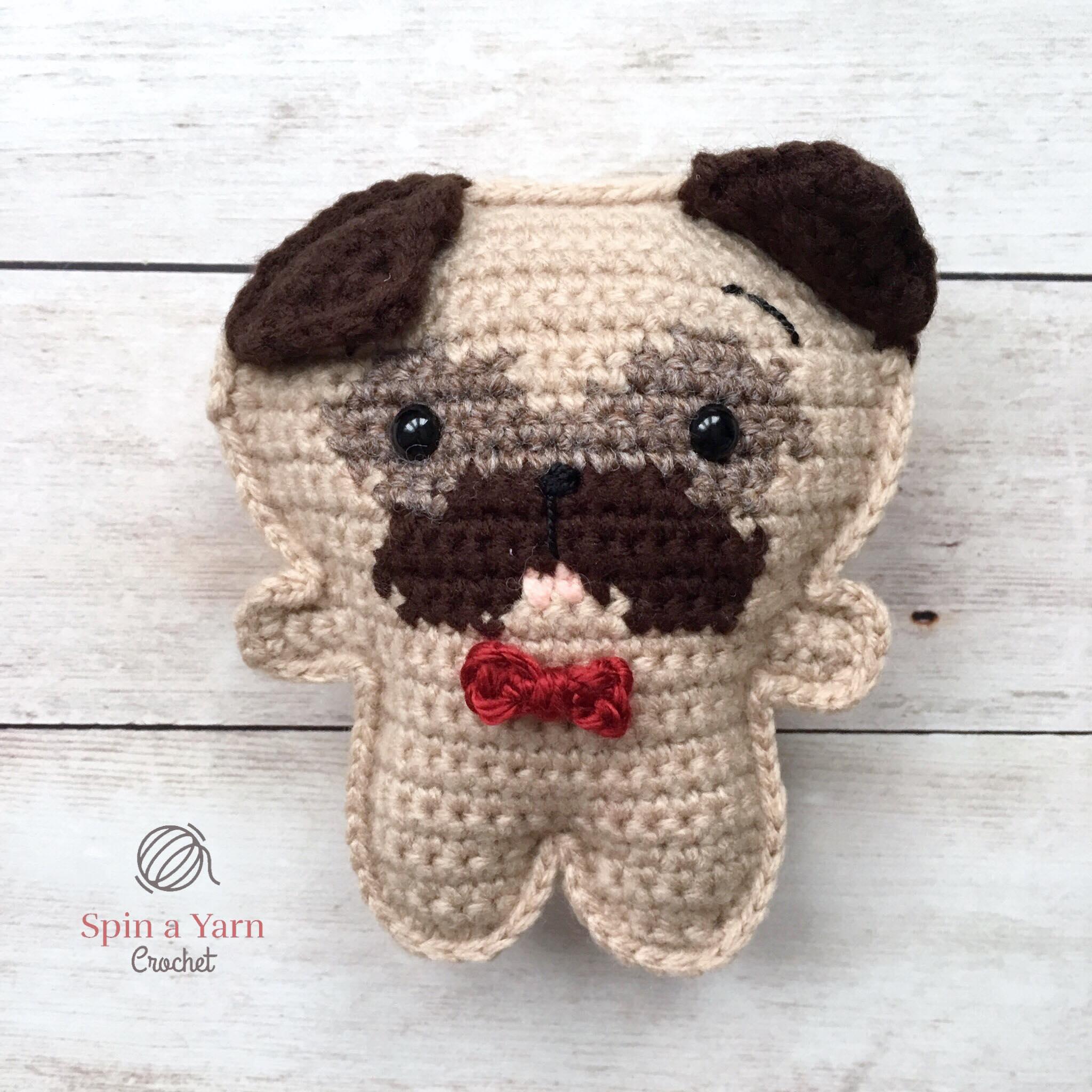 Handmade Crochet Keychain Pug Amigurumi Toy 3.5