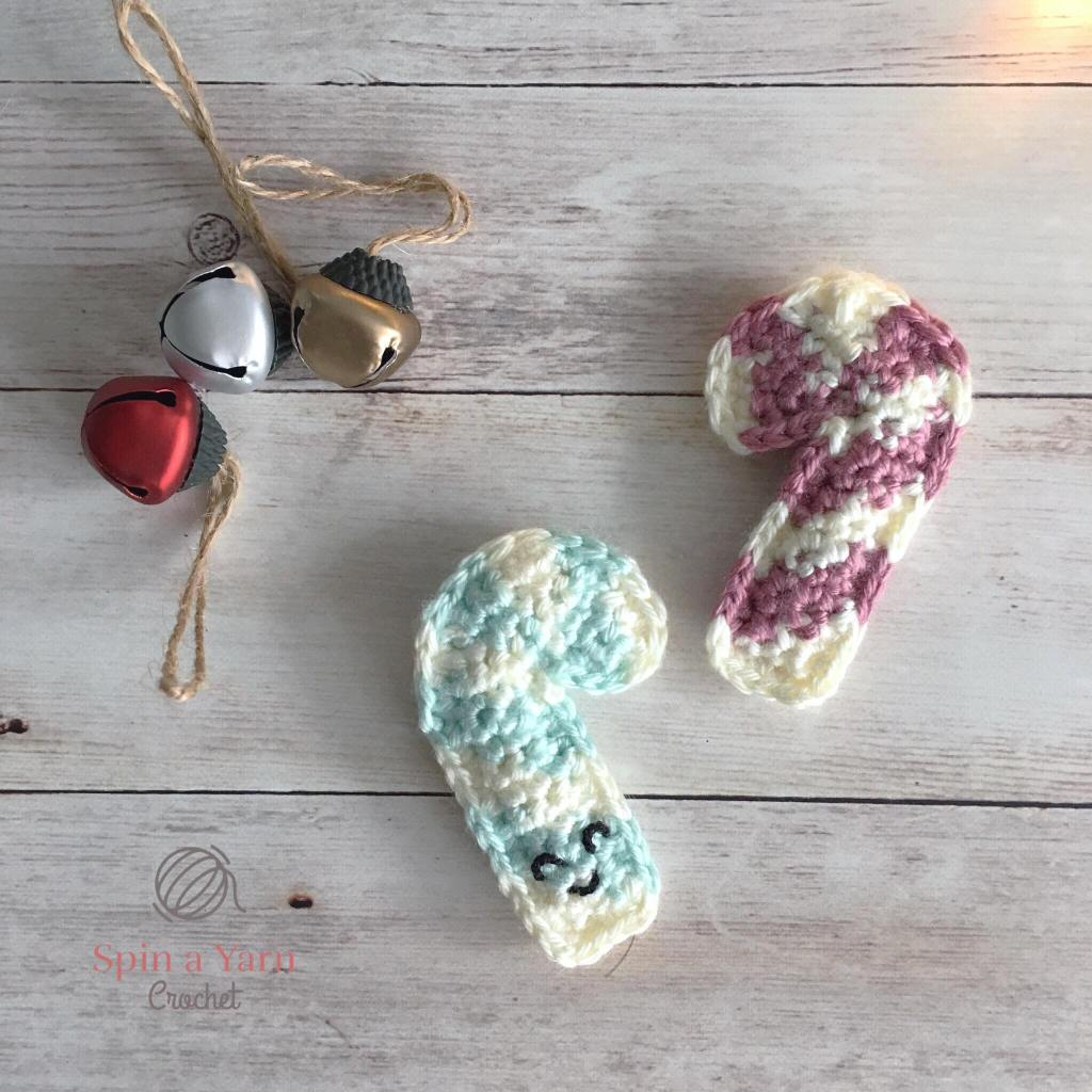 Pink and Mint crocheted candy canes