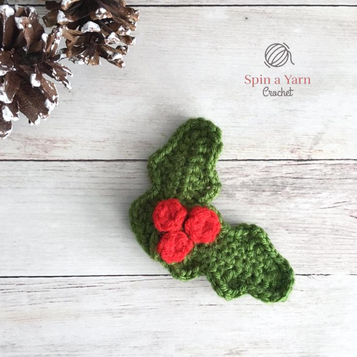 Holly Ornament Free Crochet Pattern