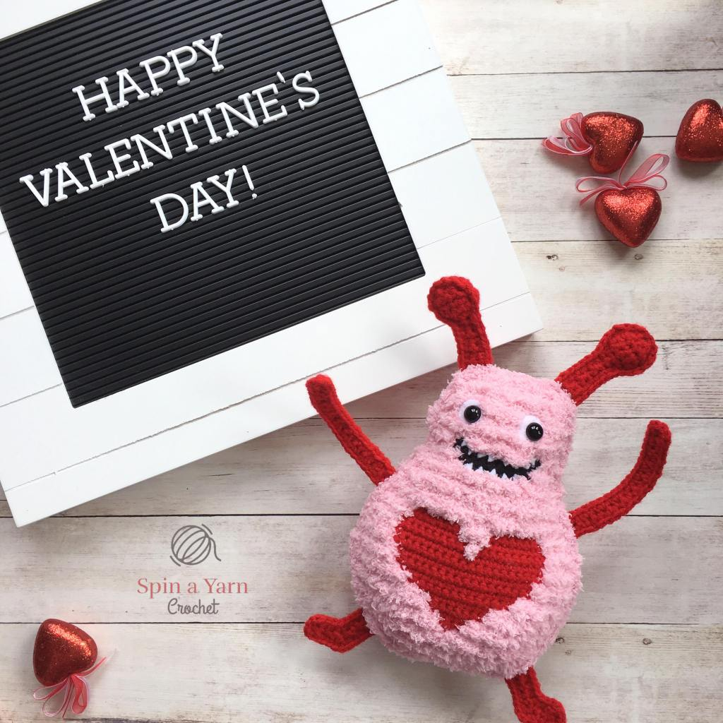 Love Monster with Valentine's Day sign