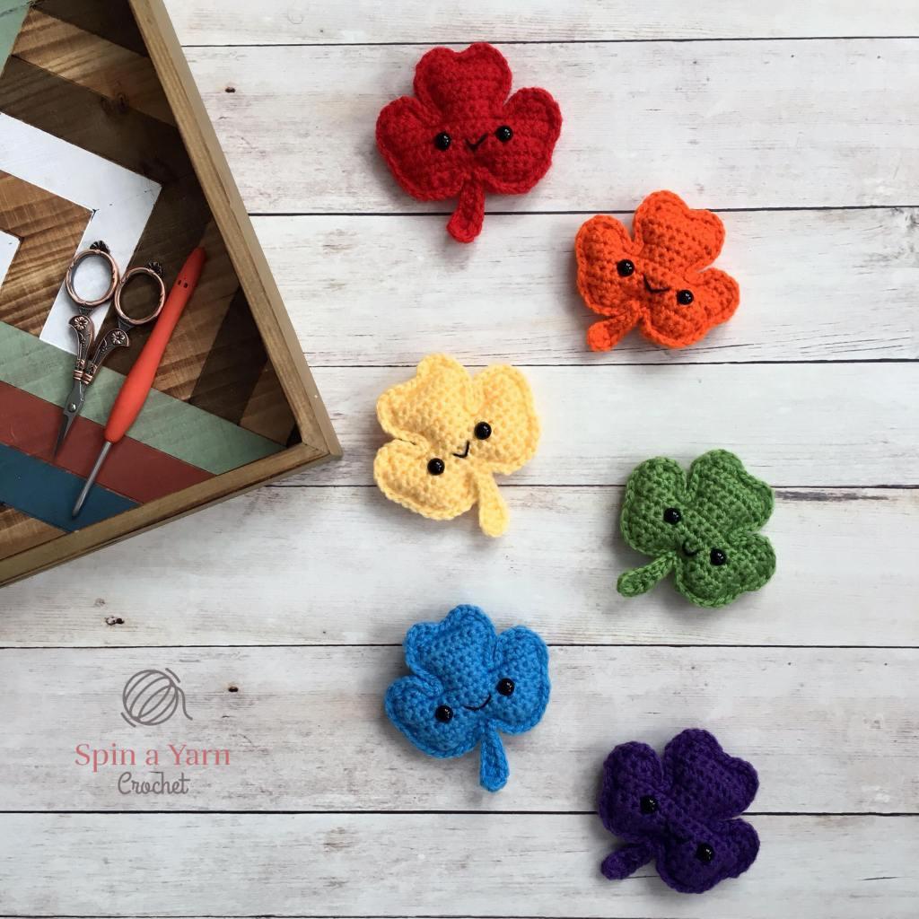 6 shamrocks in rainbow colours