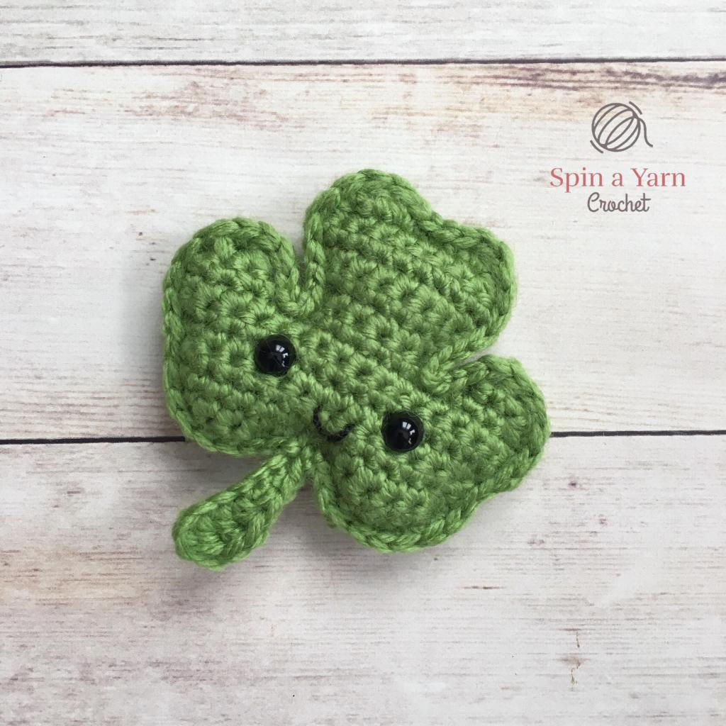 Green crocheted shamrock