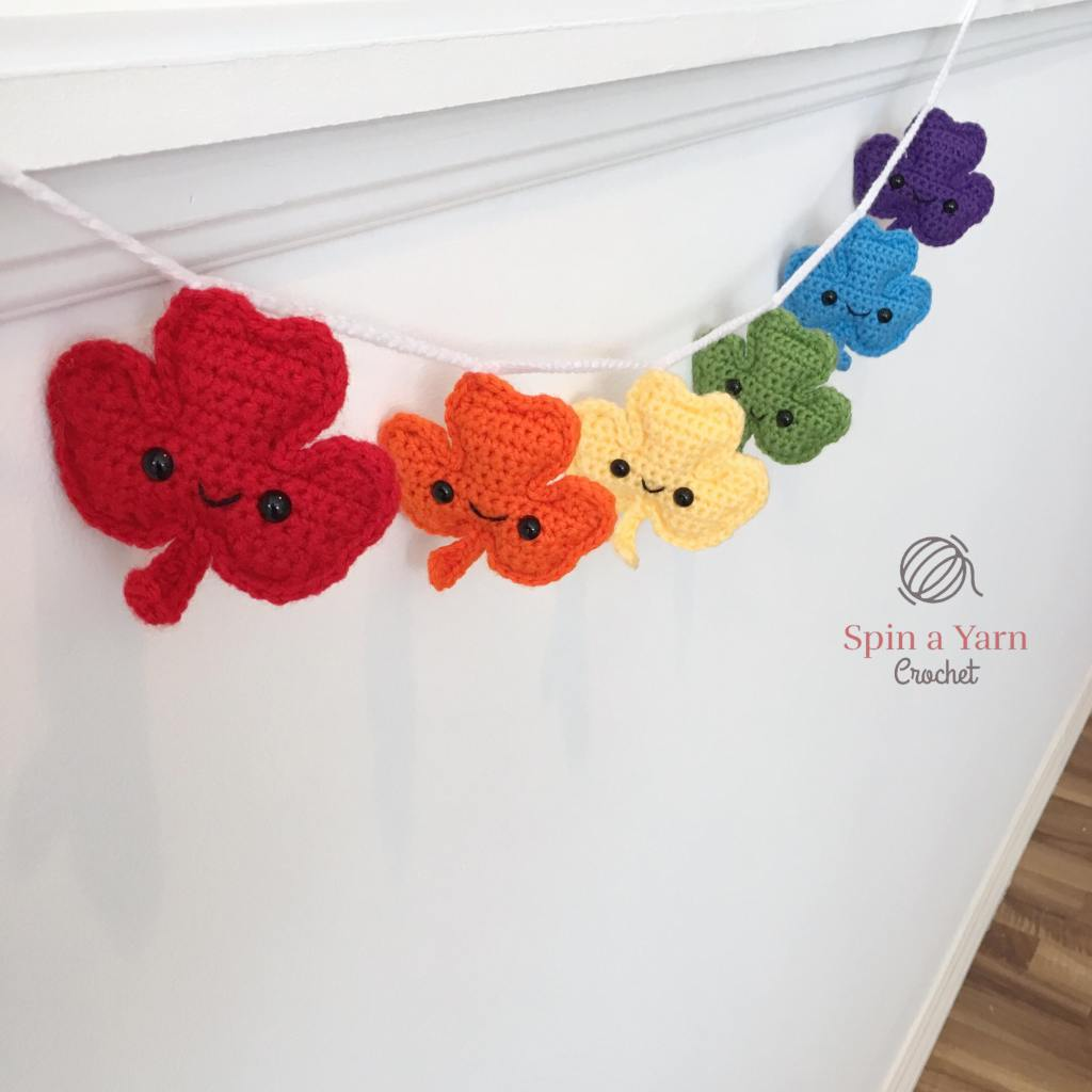 shamrock garland in rainbow colours