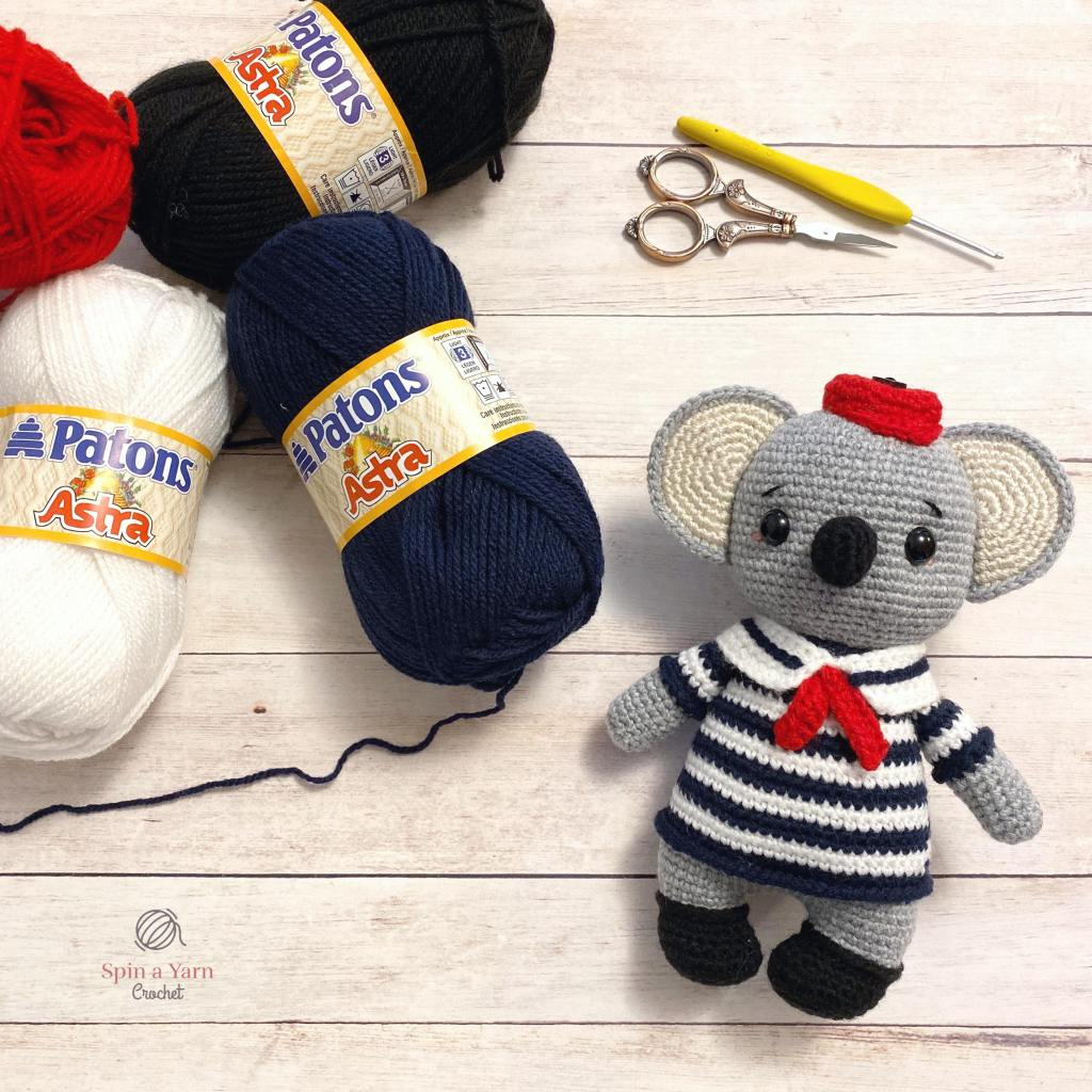 Crochet Koala and yarn
