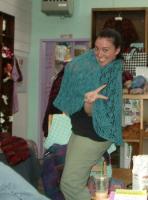 Chloe in her Kathy shawl