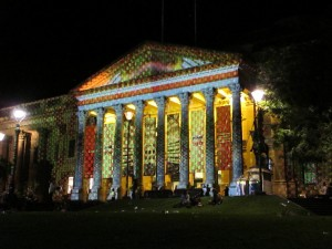 State Library of Victoria, also decorated by a light show, White Night Melbourne, 2013