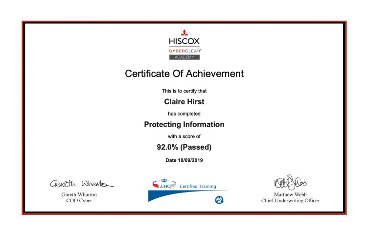 Hiscox Cyberclear Academy - Protecting Information, Claire Hirst, Spin My Plates Coaching