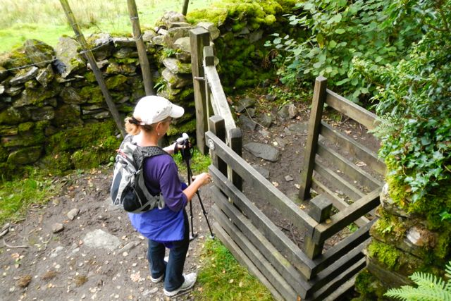 "Cindy at a ""kissing gate"""