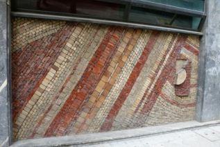 random brickwork on a derelict building