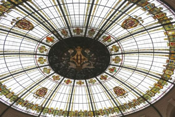 the glass-domed ceiling in the post office