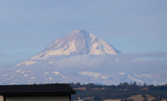 Surprise! Look who we found peeking over the horizon southwest of The Dalles--it's Mt. Hood.