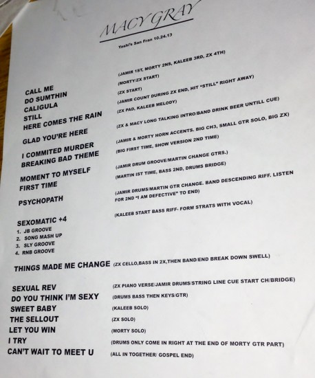 Macy Gray's setlist (page one of two).