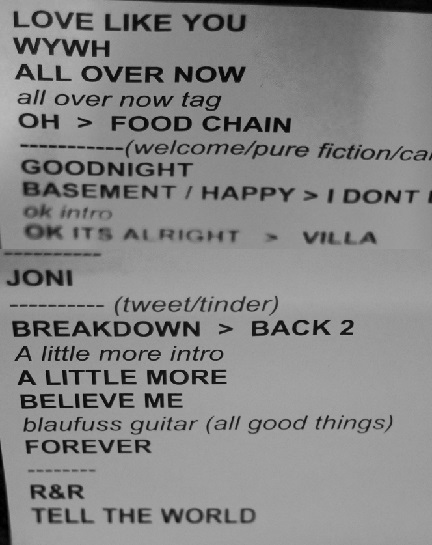 Hutchinson's setlist.