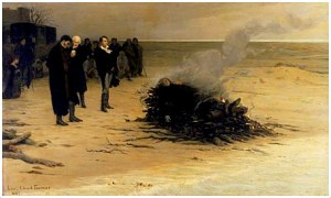 Funeral of Shelley, by Louis Édouard Fournier. 1889
