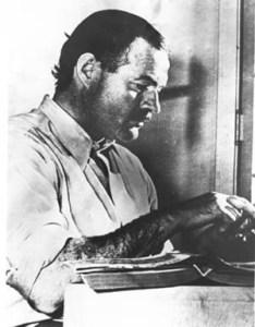 Papa Hemingway at his desk. 1939.
