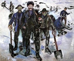 Workers in the Snow, by Edvard Munch. 1913