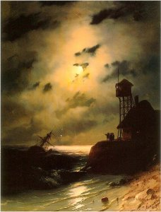Moonlit Seascape With Shipwreck, by Ivan Aivazovsky. 1863