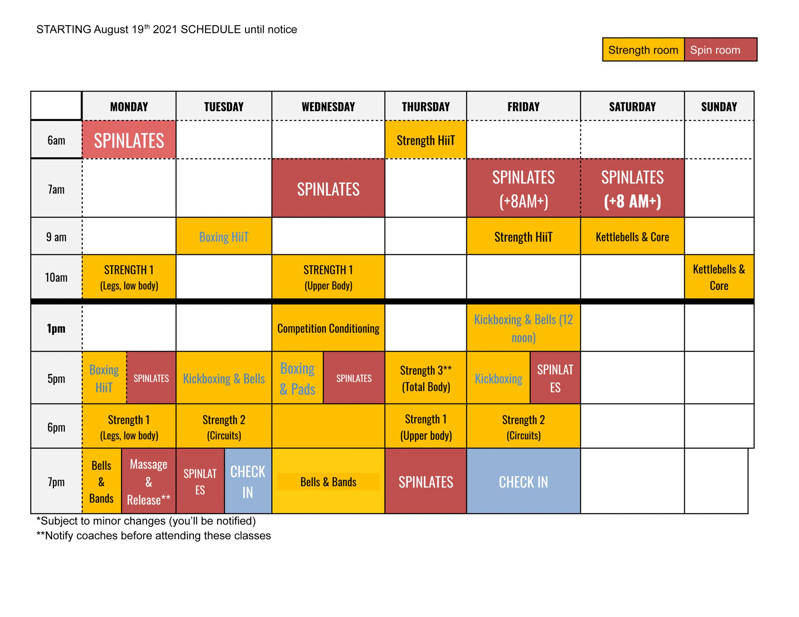 Pacific Spin and Strength Schedule