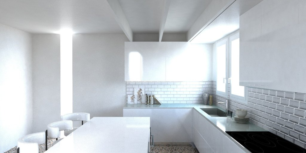 Render Cucina moderna americana parete in vetro diamantato bianco 3 | SP Interior Design