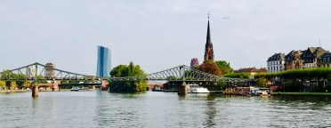 frankfurt germany main river bridge view